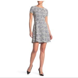 Max Studio Cap Sleeve textured knit Skater Dress